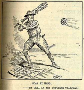 "1919 U.S. newspaper cartoon: The American Legion prepares to hit a ball labeled ""Bolshevism"" with a rifle butt labeled ""100 per cent Americanism."" He stands above a quote from Theodore Roosevelt Jr.: ""Don't argue with the reds; go to bat with them and go to the bat strong!"" 29 November 1919 Published in the Portland Telegram. Author: McCall"
