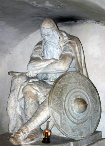 Holger Danske, also known as Ogier the Dane, was a legendary Danish warrior and knight in Charlemagne's army. The statue is made by H.P. Pedersen-Dans, and is found in the cellar (kasematterne) of Kronborg Castle, Denmark. Here he sleeps until Denmark is in danger and needs his help. This file was made by Malene Thyssen.