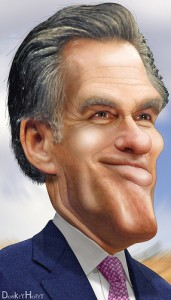 Mitt Romney caricature, courtesy of DonkeyHotey