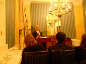Don Barnett, speaking at the Penn Club of New York