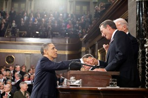 U.S. President Barack Obama is greeted by Speaker of the House John Boehner before delivering the 2011 State of the Union Address.  Author: Pete Souza