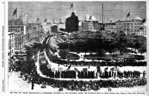 : Illustration of the first American Labor parade held in New York City on September 5, 1882 as it appeared in Frank Leslie's Weekly Illustrated Newspaper's September 16, 1882 issue.