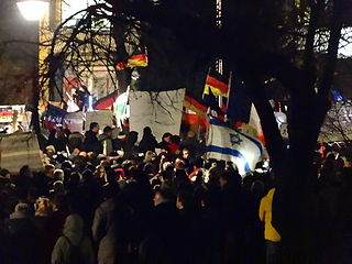 A PEGIDA demonstration in Dresden from Georgplatz Author: Kalispera Dell