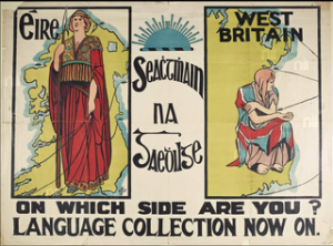 "From the National Museum of Ireland description: ""The poster depicts two female figures, one representing Éire, the other 'West Britain'. Éire is dressed in a red robe with decorative interlace design at the top; she holds a spear in her hand and ribbons that connect her to ships dotted around the coast of Ireland. West Britain, is dressed in the Union Jack and crouches on the east coast of Ireland looking towards England with outstretched palm.""  Author:Frances Georgiana Chenevix Trench (aka Sadhbh Trinseach)"
