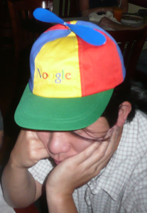 A photo of someone wearing a Google NOOGLER hat. October 4, 2007 Author: Alex Lozupone