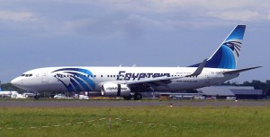 An EgyptAir Boeing 737-800 slowing down on the runway at Berlin Schönefeld Airport after landing after a flight from Cairo. June 11, 2010 Author: Per Aspera Ad Astra